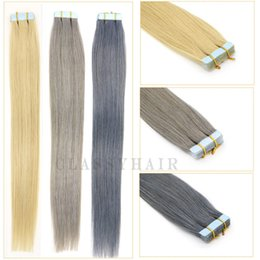 """Wholesale Seamless Weft Extensions - PU Tape Hair Extenisons Grey Platinum Blonde Skin Weft Seamless Tape In Human Hair Extensions 16""""-24"""" 20pcs"""