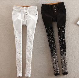 Wholesale Girls Leggings Zipper - teenage girl skinny jeans leggings casual denim pant thick fleece lined hot diamond 6sizes 2colors 615