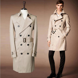 Wholesale Hot Men Trench Coats Slim - Fall-2016 Hot New Lycra Polyester Cotton Full Men Winter British Style Autumn Double-breasted Trenches Coat For Men, Windcoat