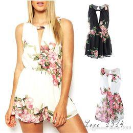 Wholesale Ladies Floral Overalls - Pop Summer Deep V Neck Women€s Floral Print Jumpsuits Summer Playsuits Ladies Overalls Summer Rompers Shorts Beach Wear Black White SV1