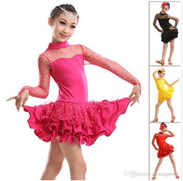 Wholesale Satin Dots Dress - 2016 New Girls Dance Costume Long Sleeve Vestido De Baile Latino Rose Red Black Yellow Dance Latin Dresses Enfeites Para Quarto