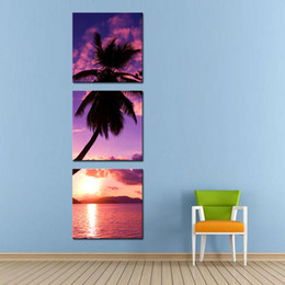 Wholesale Palms Trees Pictures - 3 Pieces Canvas Painting Wall Art For Home Decoration Sandy Beach With Tropical Palm Tree On Canvas Giclee Artwork For Wall Decor