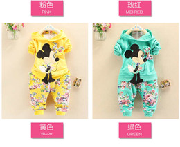 Wholesale Children Velour Pant Suits - Retail 2016 Spring Autumn baby girls Sport suit set cartoon long sleeve children hoodies sets hoodies+pant, 2 pcs clothing sets