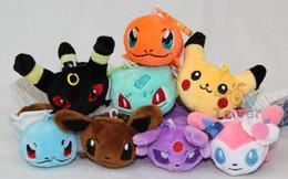 Wholesale Pokemon Stuffed Set - EMS 200pcs Poke Plush Toys Cute 8pcs set Pocket Monster Stuffed Toys 3 inch Poke Pikachu Charmander Squirtle Plush mon Pendant Dolls