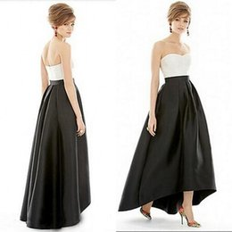 Wholesale High Low Cheap Elegant Dress - Simple Elegant Cheap Evening Dress Black and White Evening Wear Sweetheart Neckline Sleeveless High Low Prom Party Gowns Guest Wear
