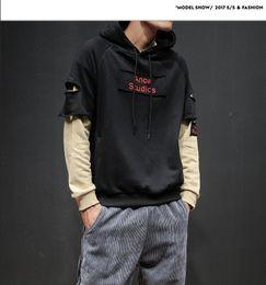 Wholesale outerwear sweatshirt - Letter Printed Man's Hoody Patchwork Fleece Thicken Hooded Outerwear New Fashion Man Sweatshirt
