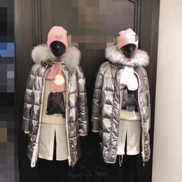 Wholesale Grosgrain Cotton - Heavy launch 2017 winter latest woman long down jacket silver fox fur collar temperament silver gray