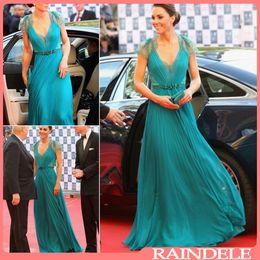 Wholesale Kate Wedding Dresses - Kate Middleton 2017 Summer Wedding Dress Party Wear V Neck Sheer Lace Back A Line Summer Pleats Chiffon Celebrity Dress With Buttons EWL218