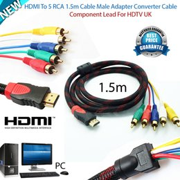 Wholesale Rgb Audio Video Av Cable - Hot New HDMI Male to 5 RCA Audio Video 1080P Converter Component AV Adapter Cable RGB