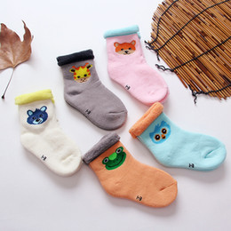 Wholesale baby hoses - New Arrival Winter Thicken Kids Socks Cotton Terry Hose Top Baby Terry Socks Infant Keep Warm Cartoon Socks