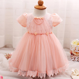 Wholesale Wholesale Wedding Gowns Sleeves - Girl Dress Princess Short Sleeve Lace Dress Baby Girl Party Wedding Christmas Evening Dress Cake Dresses Clothing 7 p