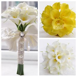 Wholesale Cheap Bridal Party Bouquets - Cheap 18pcs Calla Lily Flowers Bridal Wedding Bouquets Formal Bridesmaid Garden Church Beach Wedding Party Women White Yellow Natural Style