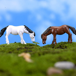 Wholesale Diy Mini Garden - 20pcs lot artificial mini horse Ornament fairy garden miniatures gnome moss terrarium decor resin crafts bonsai home decor for DIY