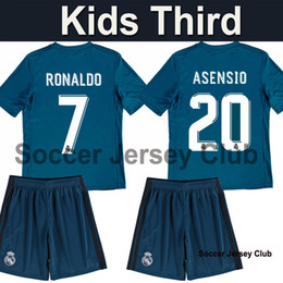 Wholesale Youth Ronaldo Jerseys - 17 18 Real Madrid kids kit third away blue soccer Jerseys 2017 2018 child RONALDO ASENSIO BALE youth SERGIO RAMOS ISCO MODRIC football shirt