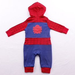 Wholesale Rompers For Boy Toddlers - Toddlers spider man hooded long sleeve rompers Infants sipderman super hero jumpsuit for girls and boys Xmas gifts