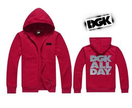 Wholesale Jacket Patches Elbows - DGK hoodie Autumn Winter Fashion Men Fleece Elbow Patch Hooded Single Breasted Hoodies Male Casual Sweatshirt Jacket 5 Colors