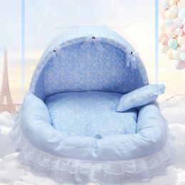 Wholesale leopard print cotton bedding - Pet bed Cartoon cat bed kennels oxford cloth leopard print blue pink Pet Supplies wholesale