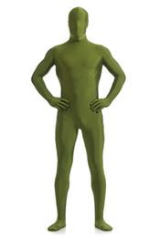 Wholesale Spandex Unitard Men - Wholesale-DARK GREEN Unicolor Zentai Suit Full Body Suits Lycra Unitard Spandex Suit SK0016A