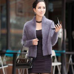 Wholesale Real Mink Fur Coats Women - Wholesale- Real mink cashmere sweater women pure cashmere cardigan winter 100% mink cashmere cool coat fur waistcoats free shipping