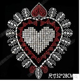 Wholesale transfer motifs - Best sale DIY 32*28cm HEART bling crystal patterns clothing accessories Hot Fix Rhinestones motif Heat Transfer on Design Iron On clothes