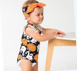 fasce di zucca Sconti Costume di Halloween Pagliaccetti di Halloween Set senza maniche in pizzo arancione Zucca Fantasma Costumi neonato Onesies Set di fasce Baby Pagliaccetto Outfit