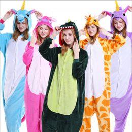 Wholesale Unicorn Pajamas For Adults - 15 Styles Winter Cute Cartoon Animal Pegasus Unicorn Pajamas Flannel Hooded Long Sleeve Adult Sleepwear For Women Unicornio Licorne Femmes