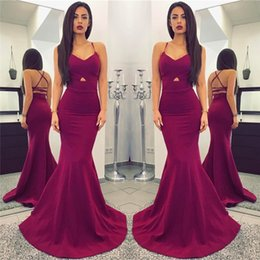 Wholesale Criss Cross Straps Dress - Cheap Grape Sexy Mermaid Spaghetti Straps Evening Gowns Criss Corss Backless Sleeveless Sheath Formal Party Dresses Prom Celebrity