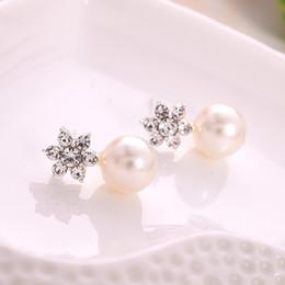 Wholesale Silver Stud Flower Earings Wholesale - Fashion Women Elegant Crystal Rhinestone Pearl Ear Stud Earrings Jewelry earrings for women earring pierced ears accessories earings filled