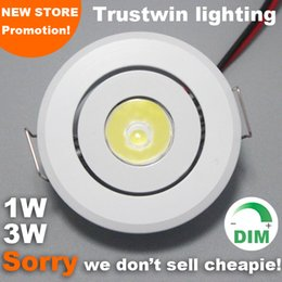 Wholesale Led Mini Dimmer Switch - 10 pieces +white wholesale dimming 110V 120V 220V 240V recessed mini LED Ceiling light 1W 3W dimmable LED downlight