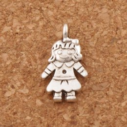 Wholesale Antique Silver Girl Pendant - Smart Smile Girl Charm Beads 300pcs lot Antique Silver Pendants Jewelry DIY 16.1x8.9mm L1138