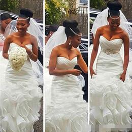 Wholesale beads for waist - 2017 Sexy Cascading Ruffles Mermaid Wedding Dress For Women Plus Size Beaded Waist White Organza Long Bidal Gown Court Train
