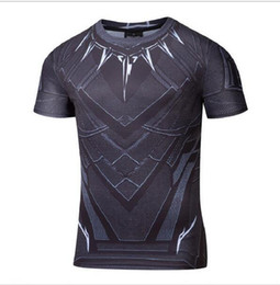 Wholesale America Fitness - Black Panther T Shirt Captain America Civil War Tee 3D Printed T-shirts Men Marvel Avengers iron man Fitness Male Crossfit Tops