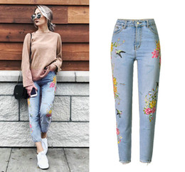 Wholesale American Apparel Xs - Fashion Casual Jeans Women 3D Bird Floral Straight Jeans Embroidered Pants High Waist denim ripped jeans mujer Women Femme Big size Apparel