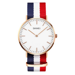 Wholesale Canvas Water Round - SKMEI NEW ARRIVAL ultrathin Geneva Watches Multicolor Stripe Nylon Fabric Canvas Wristwatches Luxury Genuine Calf Leather Watches Business C