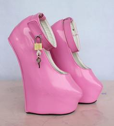 "Wholesale Red Heelless Shoes - Wonderheel New EXTREME high HEEL 8"" heel with platform women shoes Sexy fetish high Heels sexy heelless patent boots with padlocks"