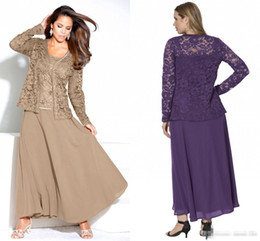 Wholesale Lace Jackets For Wedding Gowns - Custom Made Mother of the Bride Dresses for Vintage Wedding Purple Lace Chiffon Jacket Spaghetti 2016 Plus Size Mother Gowns Formal Dress