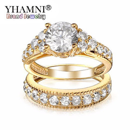 Wholesale Black Gold Wedding Rings - YHAMNI Luxury Ring Gold Filled Lovers Double Ring New Fashion Jewelry 1ct Diamond SONA Engagement Rings For Women YDAR-0004
