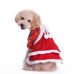 Wholesale Ladies Dress Jackets Wedding - Christmas pet customes princess dog dress clothes Lady puppy Jacket outfit wearing winter warm festival apparel for doggy supply Christmas H