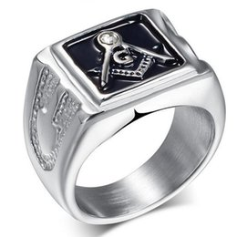 Wholesale Rings Hipsters - Shiny Rhinestores Polished Men Jewelry ring,Geometric Hipsters Vintage Ring Freemasons Rings Masonic Accessories Silver