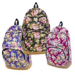 hobo backpacks Promo Codes - Wholesale free shipping Women's Canvas Travel Rucksack Hobo School Bag Satchel Backpack Floral Printed Backpacks For Teenage Girls