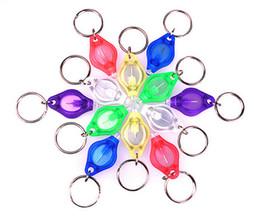 Wholesale Mini Led Keychain Light Red - Free DHL Mini Torch Key Chain 7 Color Key Ring LED Keychain Flashlight LED Lights UV LED Bulbs Ton II Photon 2 Mini Light With Box 7E