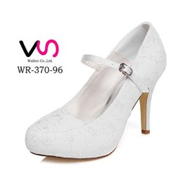 Wholesale Stiletto Heel Mary Jane - 10cm high Ivory Color Platform Pump Style Mary Jane Bridal Shoes Wedding Dress Shoes Handmade Shoes for Wedding Prom Party Shoes Size 35