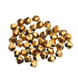 Wholesale 3mm Black Glass Beads - New Faceted Bicone Flicker Glass Crystal Loose Spacer Beads 4*3mm For DIY Jewelry Making 100pcs lot