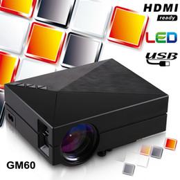 Mini hdmi telefon online-HD 1080P Projektor Mini Tragbare Projektoren GM60 LCD LED TV Beamer Media Player Heimkino Theater USB SD VGA HDMI für PC Laptop Telefon Spiel