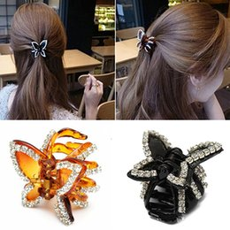 Wholesale Hair Clips Clamp Rhinestone - Wholesale-New Women's Butterfly Crystal Rhinestone Claw Hairpin Hair Clip Clamp Accessory 6X8I