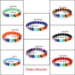 Wholesale Black Agate Beads Natural - Wholesale Handmade 10MM Natural Stone Amethyst Agate Black Lava Chakra Healing Balance Beads Bracelet For Men Women Rhinestone Reiki