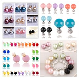 Wholesale cc studs - fashion Double Side Imitation Pearl Crystal earrings rhinestone 925 silver plated stud earrings Brand CC Jewellery