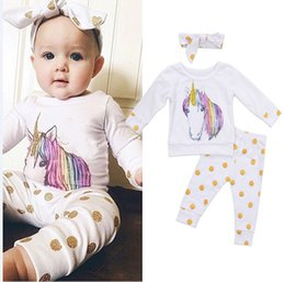 Wholesale Cute Infant Winter Clothes - Cute unicorn baby girl clothes newborn infant tops + dot pants + headband 3 pieces set oufits Colorful Bodysuit Outfits Fairy Clothing Sets
