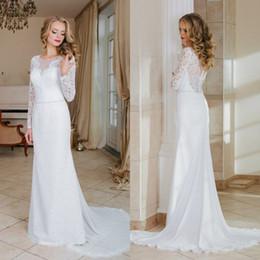 Wholesale Wedding Dress Gold Lace Belt - 2017 Vintage Long Sleeves Lace A-line Long Wedding Dresses Crew Neck Belt Chiffon Bohemian Wedding Dress Sweep Train
