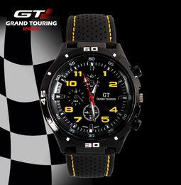regarder le conducteur Promotion GT WATCH Extreme Pilote GT Racing Sports Hommes Pilote Militray Relojes Bracelet En Silicone Bracelet À Quartz Montre À La Mode De Mode Montre Drop Shipping